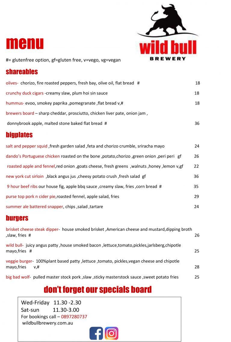 wild bull menu pg 1